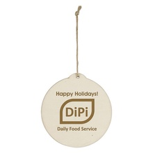 Wood Holiday Round Logo Ornaments