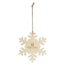 Imprinted Wood Holiday Snowflake Ornaments