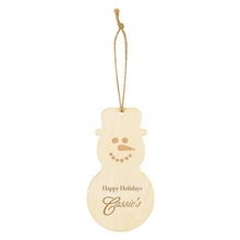 Promotional Wood Holiday Snowman Ornaments