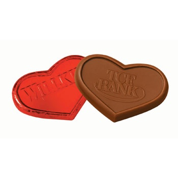 Engraved Chocolate Hearts in Red Foil