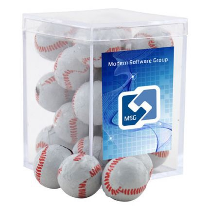 Chocolate Baseballs in Acrylic Box