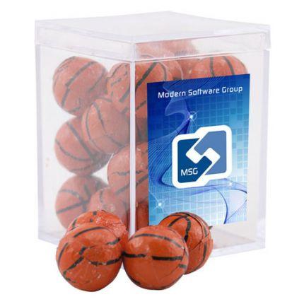 Chocolate Basketballs in Acrylic Box