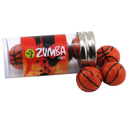 Chocolate Basketballs in Plastic Tube