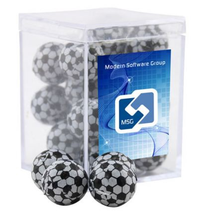 Chocolate Soccer Balls in Acrylic Box