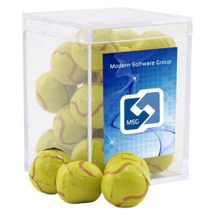 Chocolate Tennis Balls in Acrylic Box