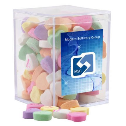 Conversation Hearts in Acrylic Box