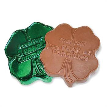 Engraved Shamrock Shape Chocolate in Green Foil