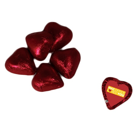 Foil Wrapped Chocolate Hearts with Custom Label