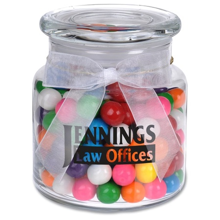 Glass Jar Filled with Rainbow Bubble Gum