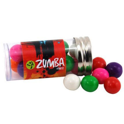 Gumballs in Plastic Tube