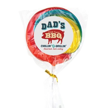 Large Rainbow Lollipop with Full Color Custom Label