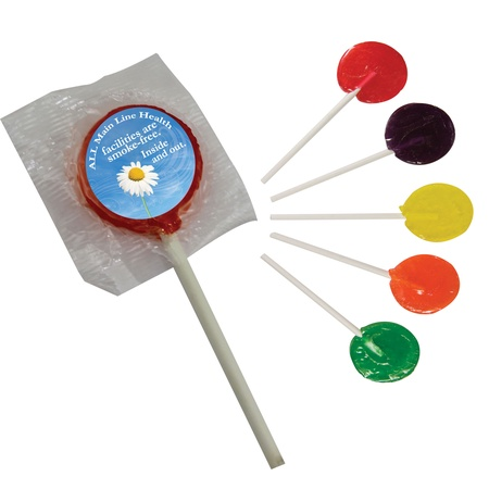 Lollipops with Custom Printed Stickers
