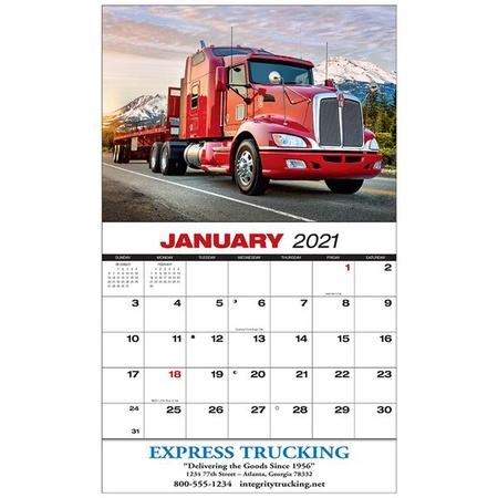 18-Wheeler Imprinted Wall Calendars - 2021
