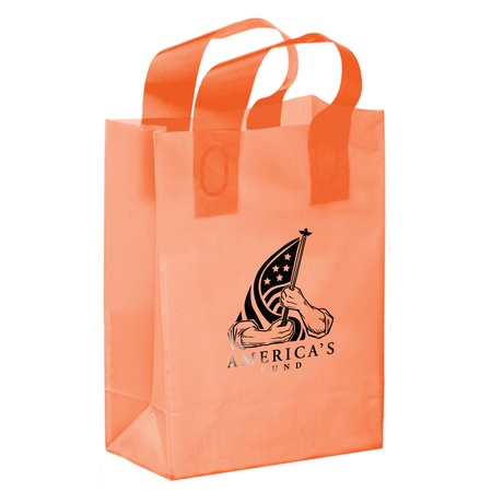 "Color Frosted 8"" x 4"" x 11"" Logo Shopper Bags"