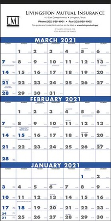 Commercial 3-Month Planning 2021 Calendar with Imprint