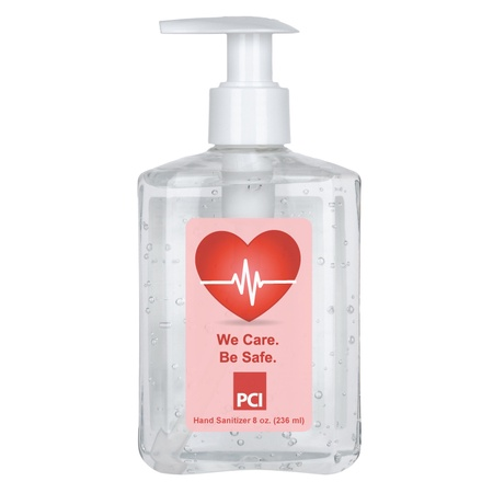 8 oz. 75% Antibacterial Hand Sanitizer Gel in Custom Pump Bottles