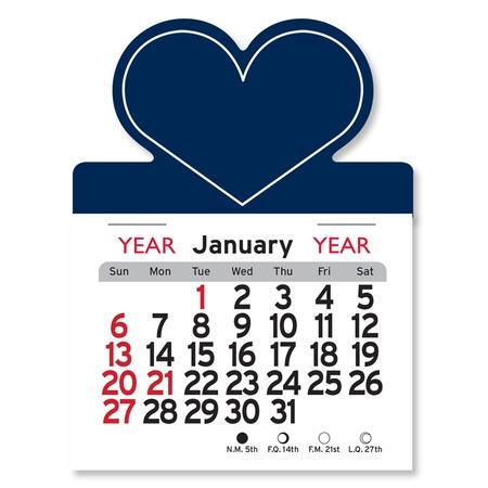 Adhesive Peel-N-Stick Heart Shape 2021 Calendars