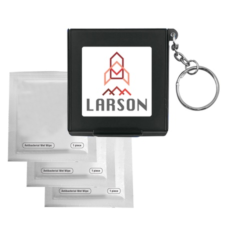 Antiseptic Wipes in Imprinted Carrying Case Keychain