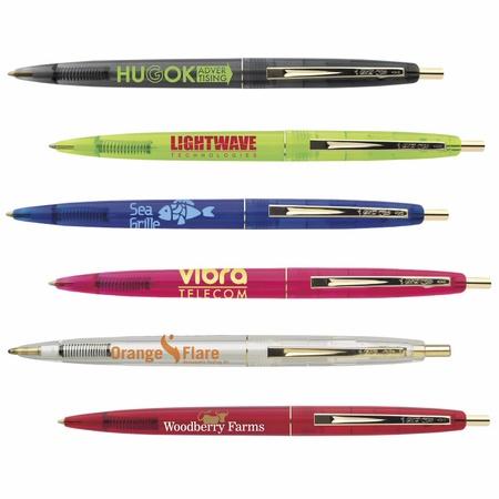 Bic Clear Clic Custom Gold Pens