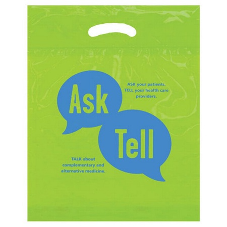 "Biodegradable Plastic Die Cut 12"" x 16"" x 3""Bag with Imprint"