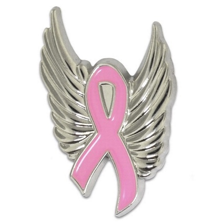 Breast Cancer Ribbon & Wings Pin