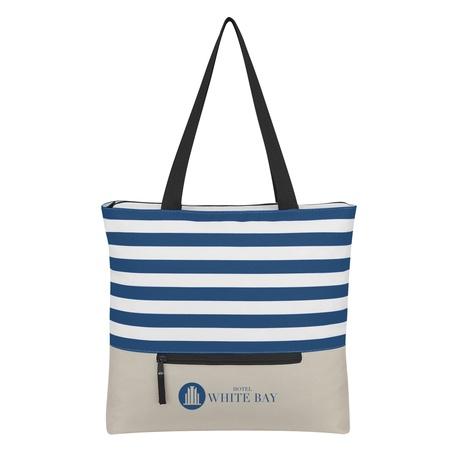 Broad Stripe Zippered Custom Tote Bags
