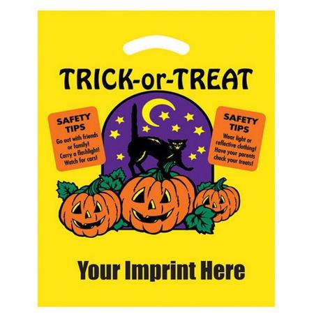 "Personalized Cat & Pumpkin Plastic  12"" x 15""Halloween Bags"