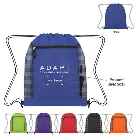 Checkered Mesh Accent Logo Drawstring Bag