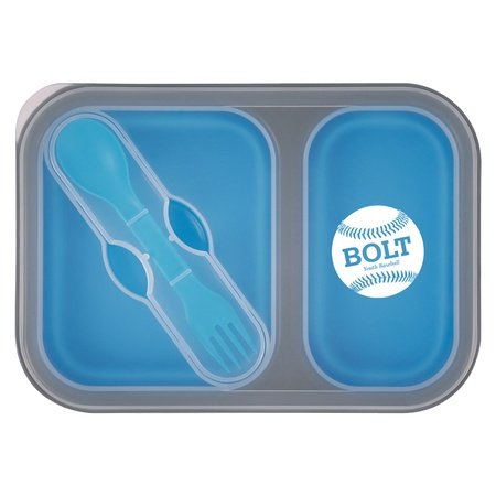 Collapsible 2-Section Food Container with Utensils