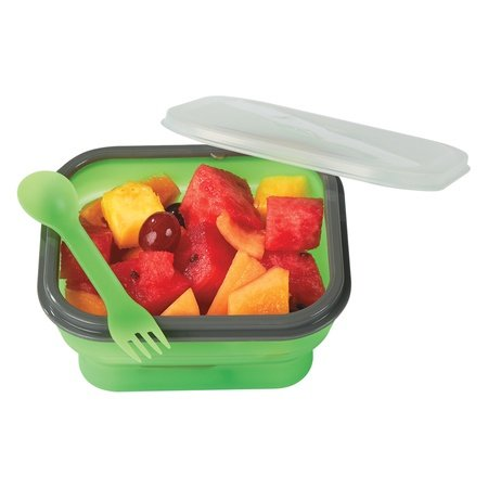 Collapsible Food Container with Dual Utensils
