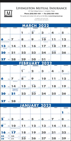 Commercial 3-Month Planning 2022 Calendar with Imprint