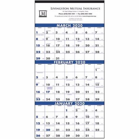 Commercial 3-Month Planning Calendar - 2020