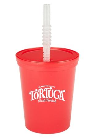 Custom 16 oz. Plastic Stadium Cups with Lid & Straw