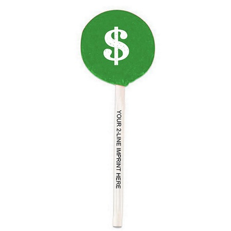 $ Dollar Sign Lollipops with Imprinted Sticks