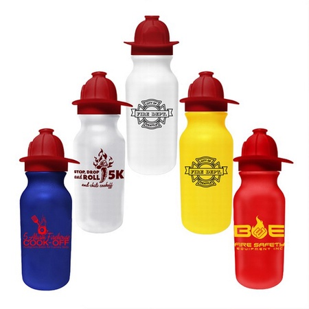 Custom Drink Bottle with Fireman Helmet