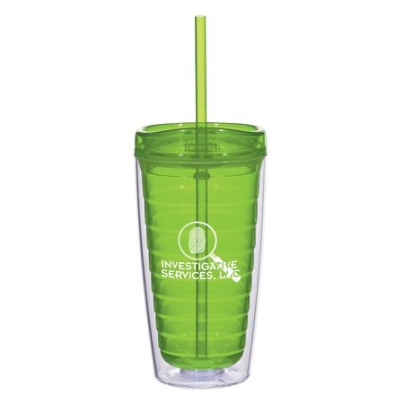 Econo Double Wall Tumbler with Lid & Straw - 16 oz.