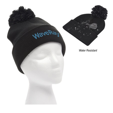 Embroidered Water Resistant Pom Beanie with Cuff
