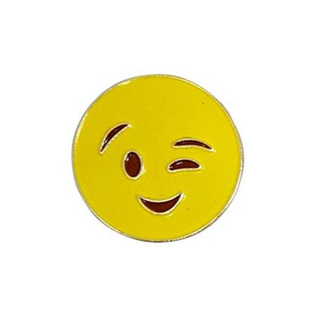 Emoji Winking Lapel Pin
