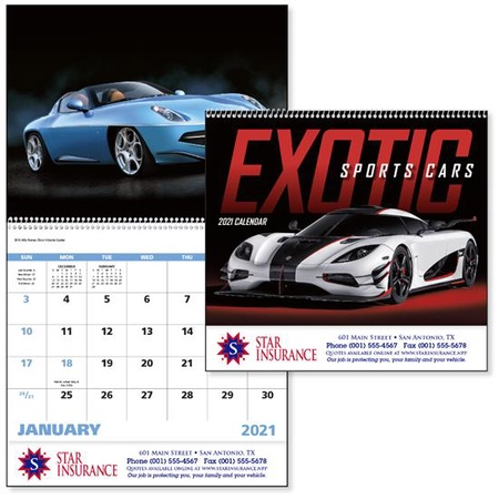 Exotic Sports Cars 2021 Promotional Wall Calendars