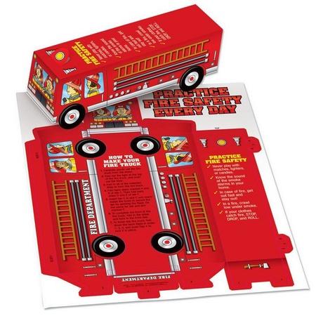 Fire Safety Cutout Paper Fire Truck