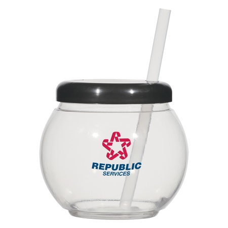 Imprinted Fish Bowl Cup With Straw