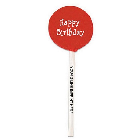 Happy Birthday Lollipops with Imprinted Sticks