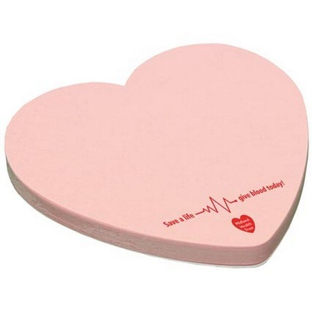 Custom Heart Adhesive 25 Sheet Notepads