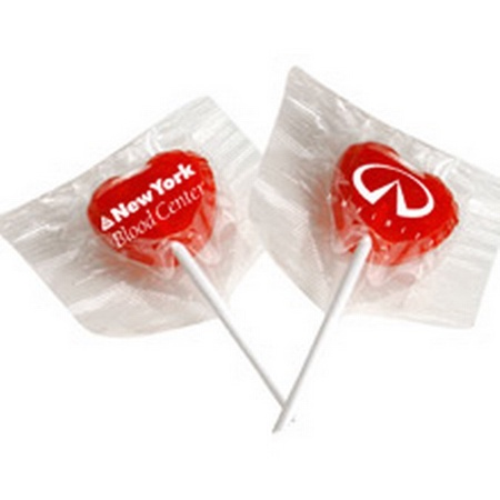 Heart Lollipops with Printed Wrappers