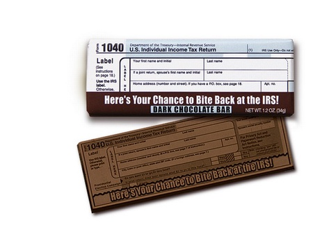 IRS 1040 Tax Form Dark Chocolate Bars