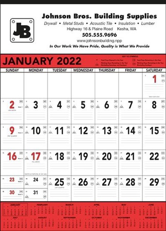 Jumbo Commercial 2022 Promotional Wall Calendars