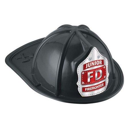 Junior Firefighter Black Plastic Fire Helmet