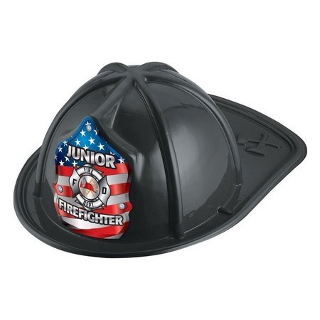 Junior Firefighter USA Flag Black Plastic Hats