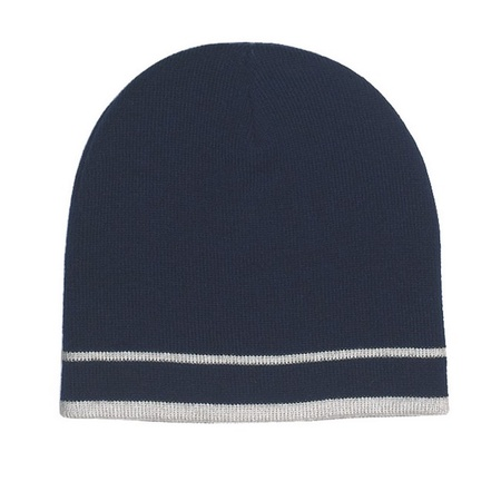 Knit Beanie with Double Stripes