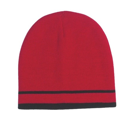 Customized Knit Beanie with Double Stripes